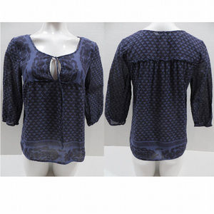American Eagle top Small peasant tie neck keyhole